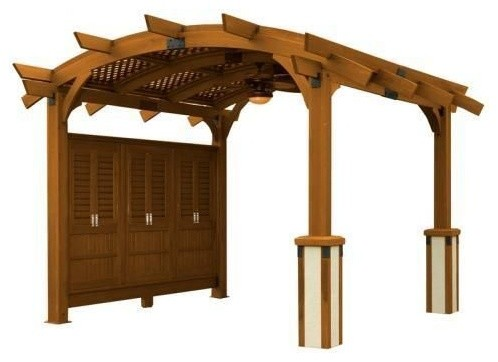 12&x27;x12&x27; Sonoma Arched Wood Pergola With Lattice Roof And Privacy Wall, Redwood.