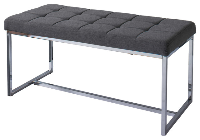 Huntington Modern Gray Fabric Bench With Chrome Base.