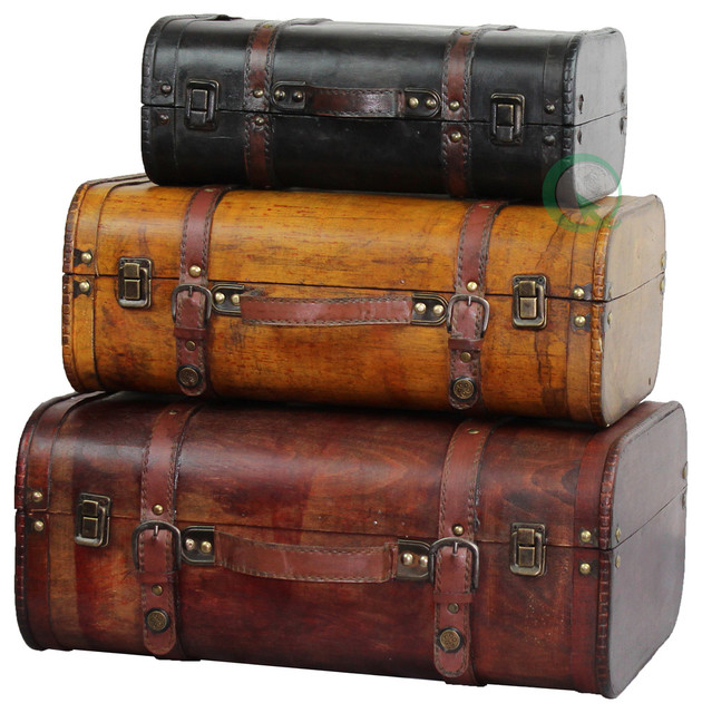 Perfect Three Colored Vintage Style Luggage Suitcase, Set Of 3 Traditional  Decorative Trunks