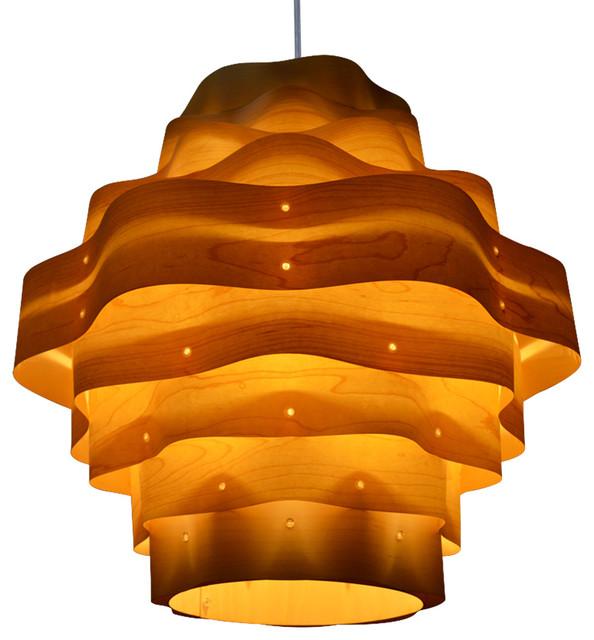 Wood veneer pendant lighting houzz oaklamp harlow wood pendant lamp pendant lighting mozeypictures Images