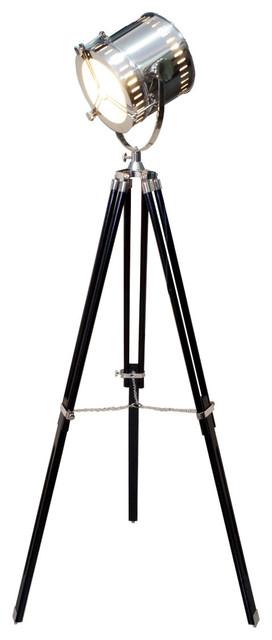 Hollywood Tripod Floor Lamp, Hand Made Replica, Black