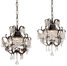 Wrought Iron Crystal Chandelier Pendant, Set Of 2.