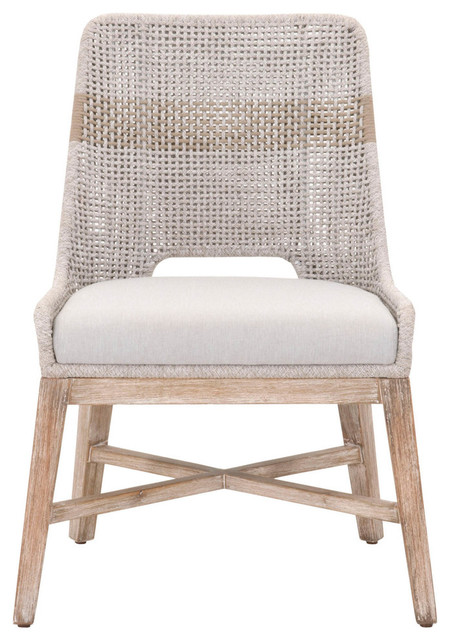Tapestry Dining Chair, Taupe & White Flat Rope, Set of 2
