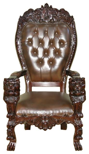 Dark Mahogany Genuine Leather Gothic Office Desk Lion Arm Chair ...