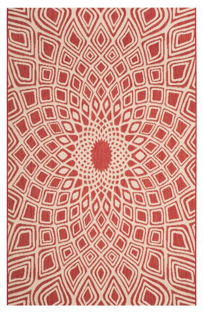 Ariel Indoor/outdoor Rug, Red/beige, 6&x27;7x9&x27;6.
