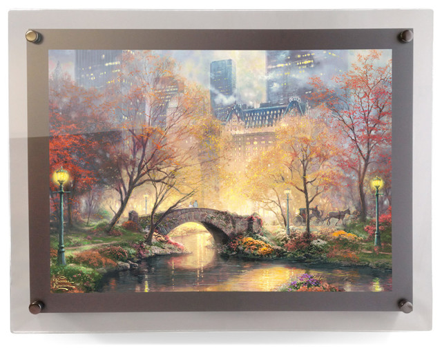 Thomas Kinkade Central Park in the Fall PolyPix Print in LED Frame ...