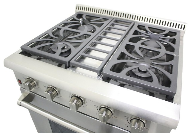 "thor kitchen 30"" professional stainless steel gas range w/ 4"