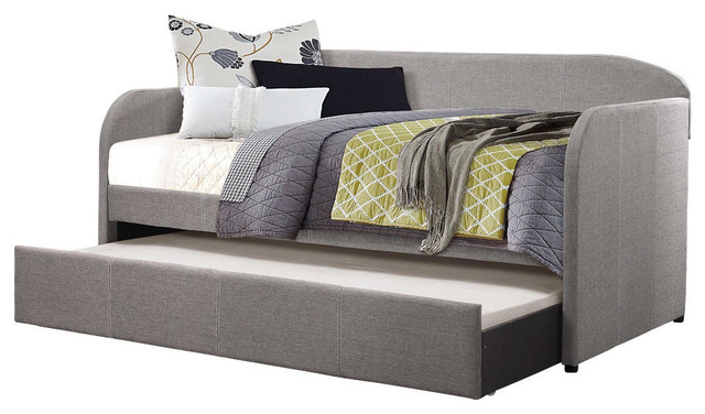 Twin Modern Gray Fabric Upholstered Daybed with Trundle