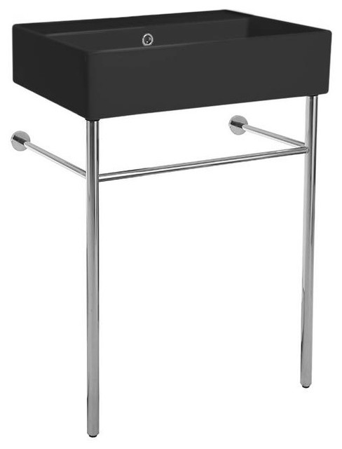 Matte Black Ceramic Console Sink and Polished Chrome Stand, No Hole