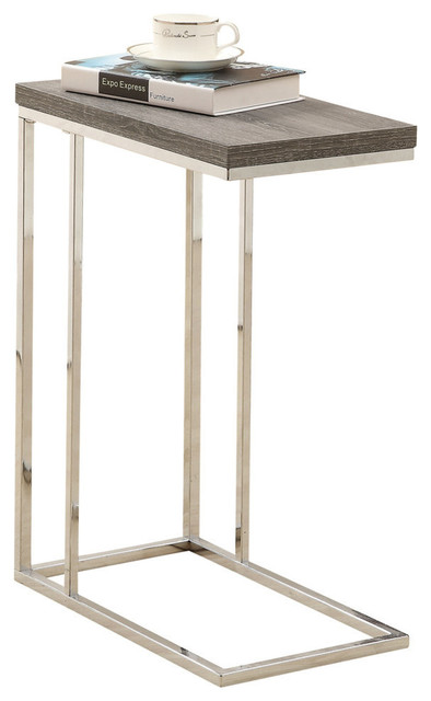 Monarch Specialties Accent Table, Dark Taupe With Chrome Metal  Contemporary Side Tables