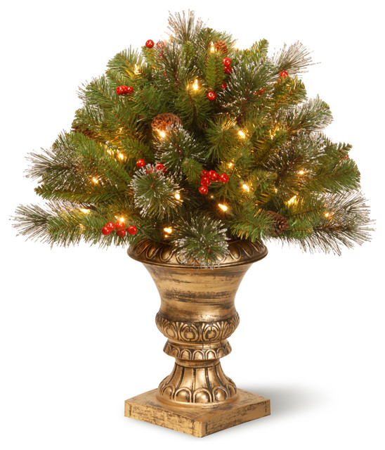 24 Crestwood Spruce Porch Bush With Clear Lights Traditional
