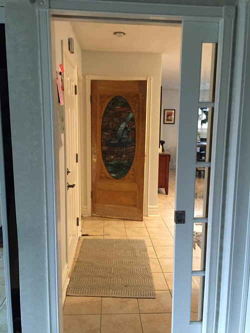 stained glass interior door need to paint frame colour