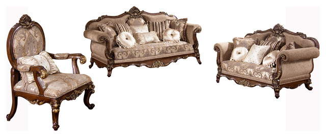 Winfrey Traditional 3 Piece Living Room Set Victorian Living Room Furniture