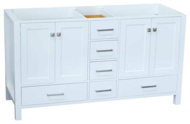 Ariel Cambridge 60 Wood Vanity Cabinet Only, White.