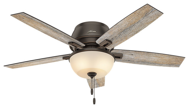 "Hunter 52"" Donegan Low Profile Onyx Bengal Ceiling Fan With Light."