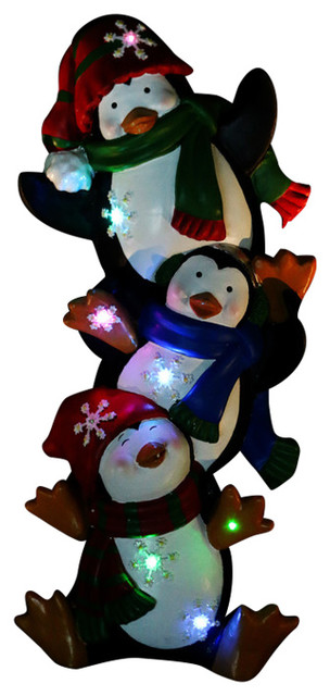 Penguin Statue with Color Changing LED Lights