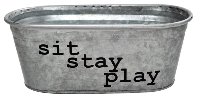 Sit Stay Play Dog Toys Galvanized Storage Container