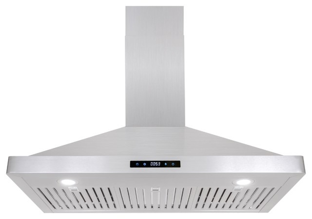Cosmo Wall Mount Range Hood, Stainless Steel With Touch Controls.