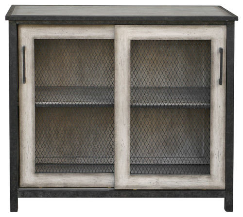 Antique-Style Wire Mesh Sliding Door Accent Cabinet, Pie Safe Cottage Shelf