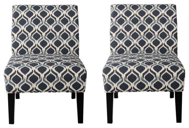 Incroyable GDF Studio Kendal Blue, Navy Fabric Accent Chair, Set Of 2