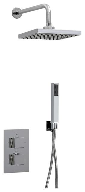 Enki ABS Concealed Square Thermostatic Shower Set Handheld Shower Kits