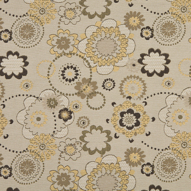Gold Gray And Tan Floral Indoor Outdoor Upholstery Fabric By The Yard  Contemporary Outdoor