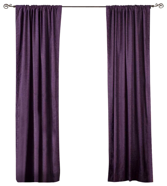 Purple Rod Pocket Velvet Curtain Drape Panel Piece Traditional Curtains By Indian Selections