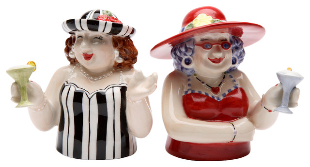 Sophisticated Ladies Salt And Pepper Shakers Set Of 2 Eclectic Salt And Pepper Shakers And Mills By Cosmos Gifts Corp