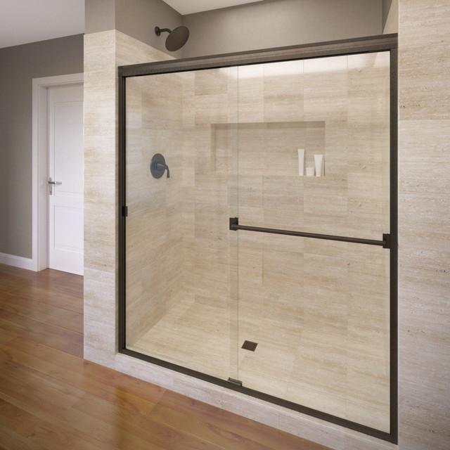 """Classic Semi-Frameless Sliding Shower Door, 44-47"""", Clear, Oil Rubbed Bronze"""