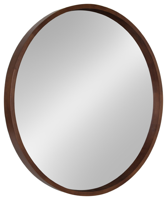 Hutton Round Decorative Wood Frame Wall Mirror, 30, Walnut.