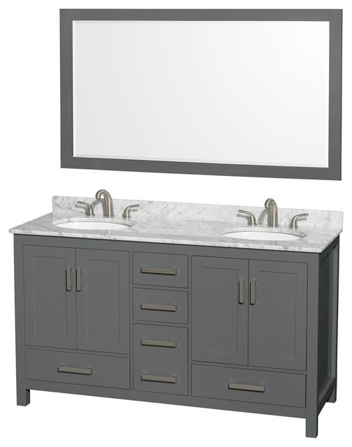 60 Double Vanity Dark Gray White