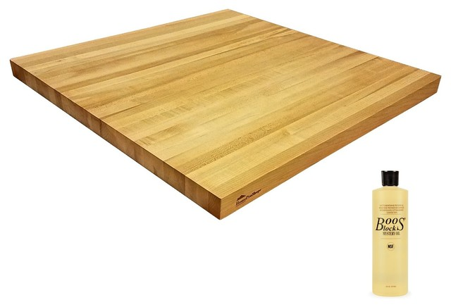 Solid Maple Butcher Block Counter Top 1 5 X25 John Boos Oil Transitional Table Tops And Bases By Homepros