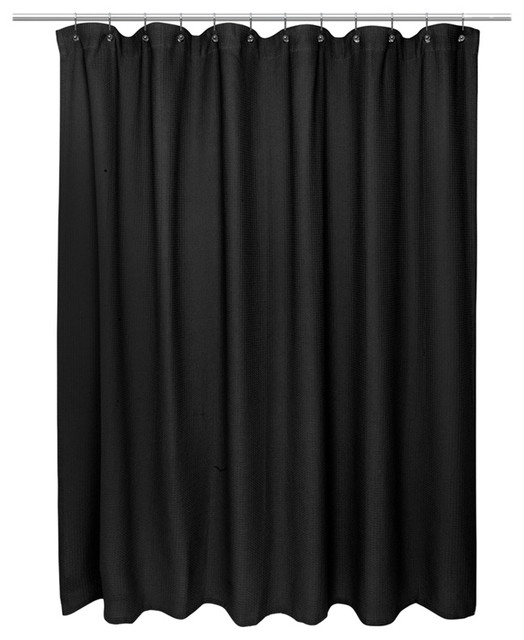 American Crafts Waffle Weave 100% Cotton Shower Curtain, Black Contemporary  Shower Curtains