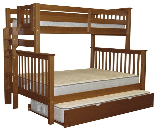 Bedz King Bunk Beds Twin Over Full With End Ladder And Twin Trundle, Espresso.