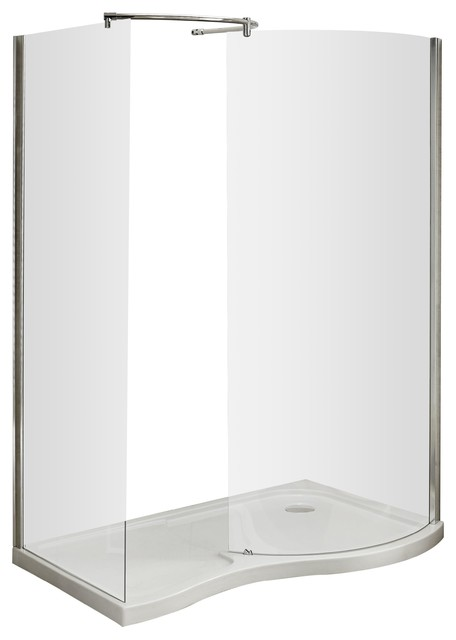 Pacific Curved Walk-In Shower Enclosure With Polished Chrome Frame