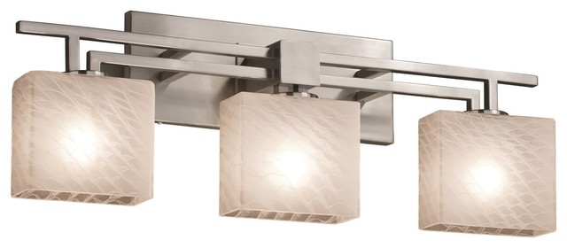 Justice Designs Fusion Aero 3 Light Bath Bar Brushed Nickel Transitional Bathroom Vanity Lighting By Better Living Store