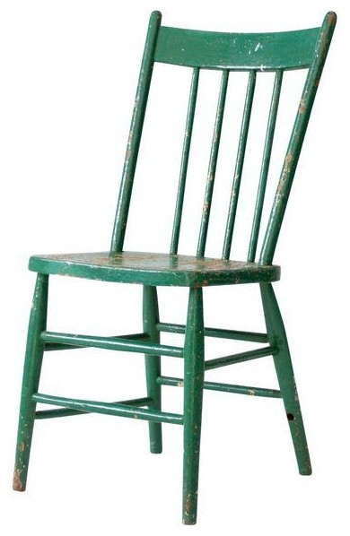 Consigned Antique Green Wood Spindle Back Chair