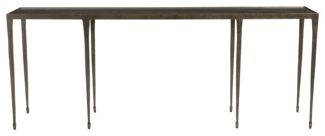 Wes Industrial Loft Blackened Hammered Cast Iron Console Table.