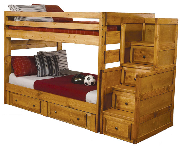 Amber Wash Oak Solid Wood Full Over Full Bunk Bed Storage Drawers