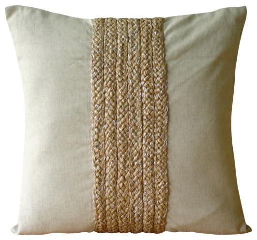 Jute Decorative Pillows : Beige Jute Cord Cotton Linen Pillow Covers, Linen Memories - Contemporary - Decorative Pillows ...