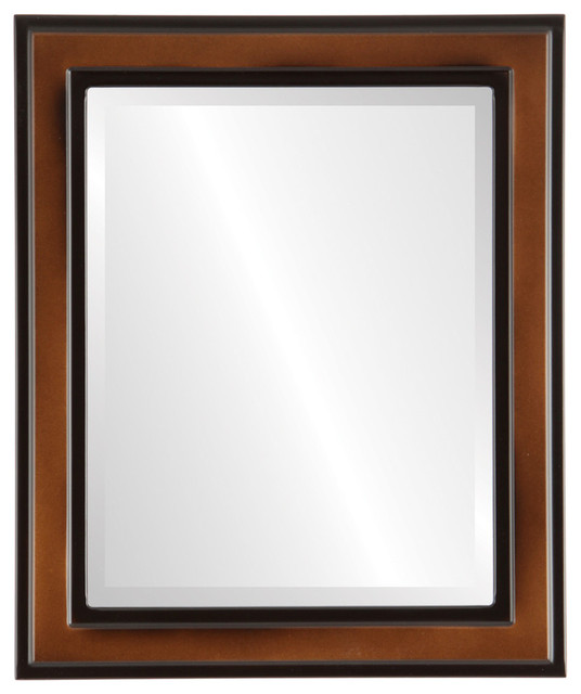 "Wright Framed Rectangle Mirror In Walnut, 27""x39""."