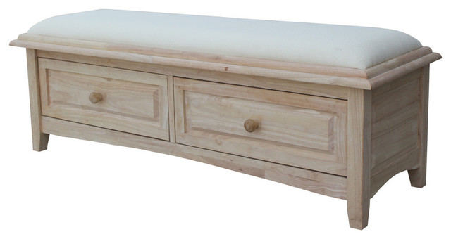 Isolde Bench With Storage Drawers Unfinished Farmhouse