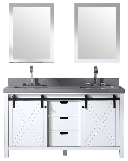 60 Double Bowl Vanity With Barn Door White 2 Gray Quartz And Mirrors