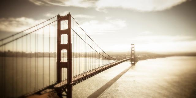 Golden Gate Bridge Canvas, Sepia Wall Art, San Francisco ...