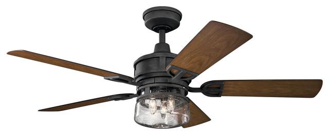 52 Ceiling Fan, Distressed Black.