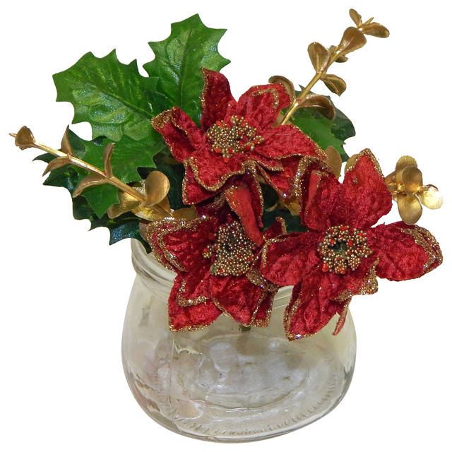 Faux poinsettia arrangement outdoor holiday decorations for Poinsettia arrangements