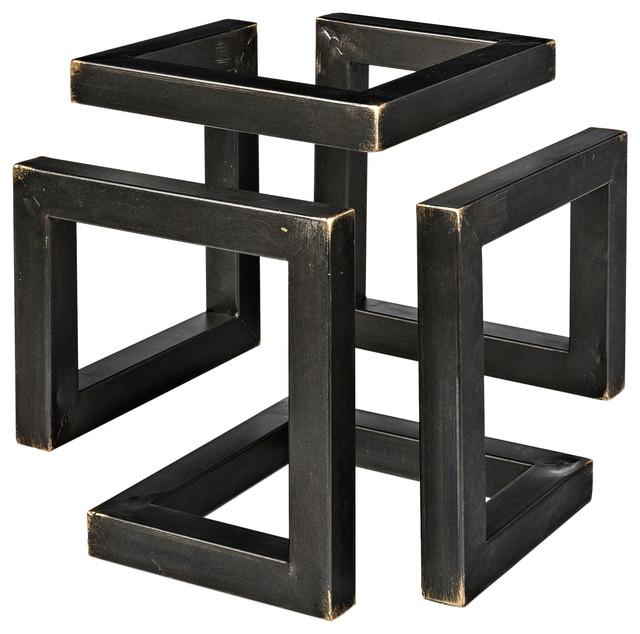 Octothorp I Decorative Object, Small, Matte Black & Brass