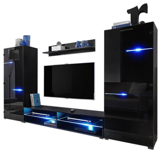 Modern Entertainment Center Wall Unit With Led Lights 65 Tv Stand