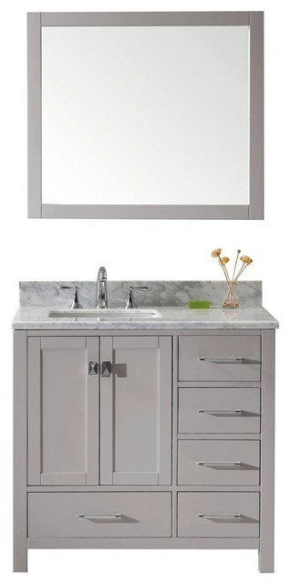 """36"""" Single Bathroom Vanity, Cashmere Gray, Mirror Included, Polished Chrome."""