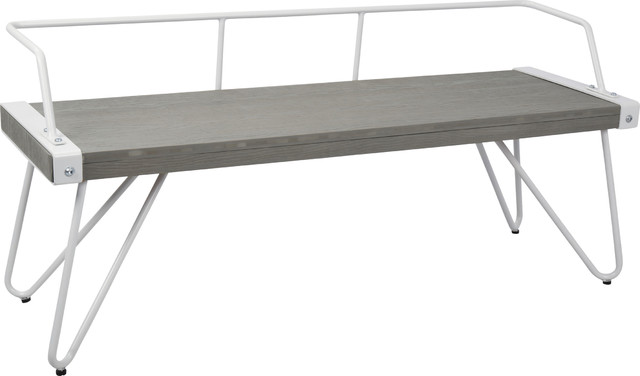 Stefani Bench, White, Gray Midcentury Dining Benches